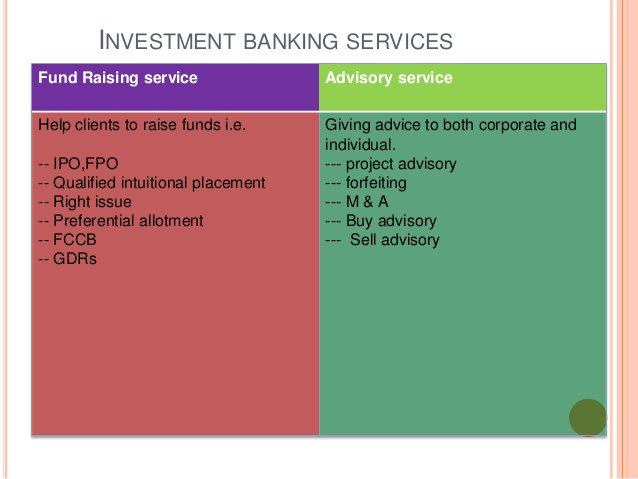 Investment banking services